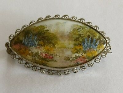 Antique hand painted tile brooch