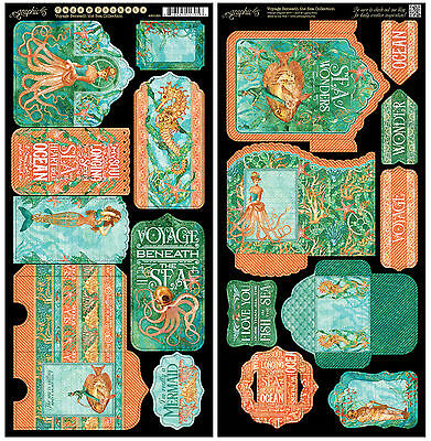 Graphic45 VOYAGE BENEATH THE SEA TAGS & POCKETS Die-Cuts scrapbooking
