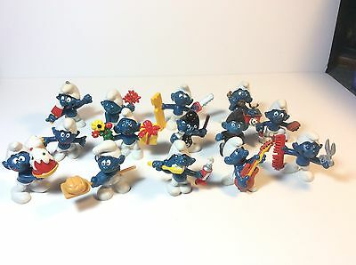 Smurfs Schleich Lot Of 14 Cooking Music Phone Guitar Cake Flowers Police Figures