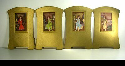 Set of 4 Art Deco Cardboard Displays with Post Cards 4 Different Art Deco Ladies