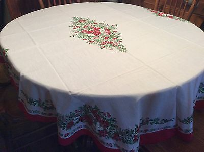 Vintage Cotton Christmas Tablecloth Oval