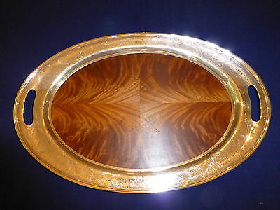 Silver Tray Serving Platter Footed Wood Insert Huge Heavy Elegant