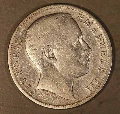 1905 Italy 2 Lire Silver Scarce Circulated          ** FREE U.S. SHIPPING **