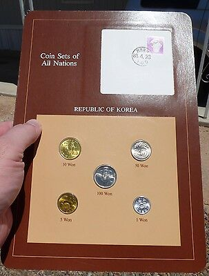Coin Sets of All Nations, South Korea, 5 Coins - 1971-83, w/ Info Card