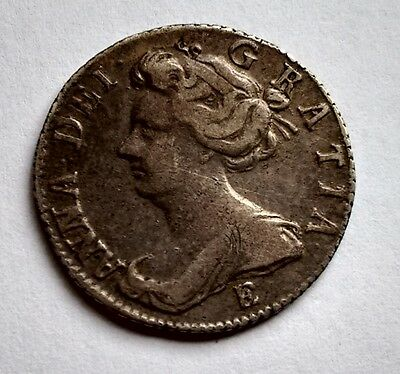 Queen Anne Sixpence 1707E  Dark Tone (388)