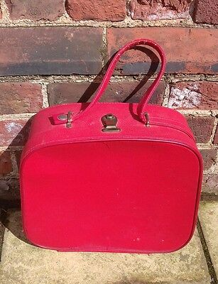 Vintage retro Cheney red leather effect vanity case