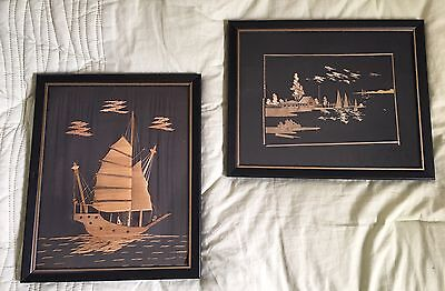 Vintage Framed Asian Bamboo Straw Art on Silk- Hong Kong 1968