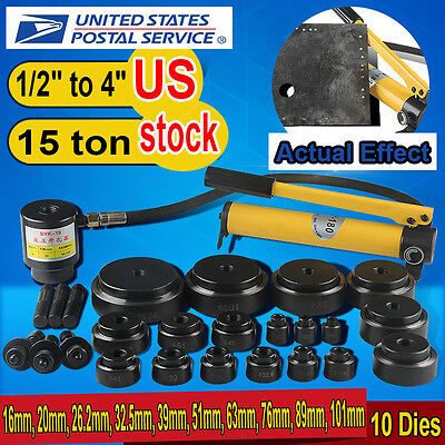 US 15ton 16-101mm  Hydraulic Knockout Punch Kit Hand Pump 10 Dies Tool Hydra