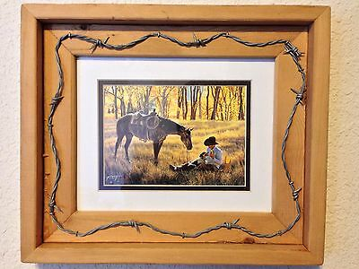 Tim Cox Toh-Atin Gallery Customized Cowboy Theme Barbed Wire Oak/Pine Wood Frame