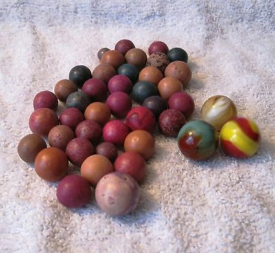 Lot Of 39 Antique Clay Marbles - Various Sizes + 3 Vintage Glass Marbles - Rare!
