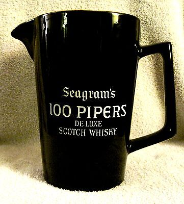 Vintage - Seagram's - 100 Pipers - Deluxe Scotch Whiskey - Pitcher - Black/gold