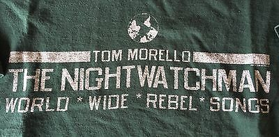 TOM MORELLO The Nightwatchman World Wide Rebel Songs 2011 Tour Shirt Size Large