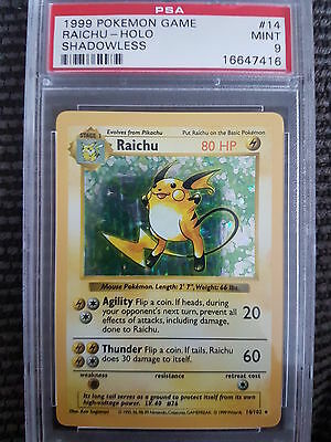 MINT PSA 9 Shadowless Raichu Holo Rare 14/102 Pokemon Card Base Set