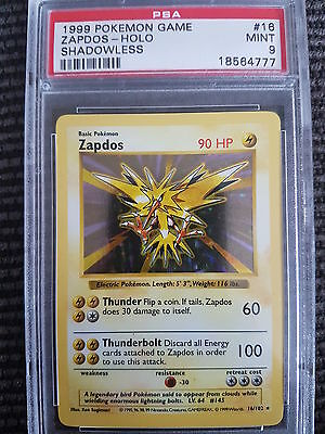 MINT PSA 9 Shadowless Zapdos Holo Rare 16/102 Pokemon Card Base Set