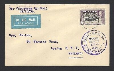 Ceylon 1936 Special Flight X'Mas FFC cover Neboda to England
