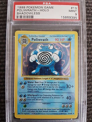 MINT PSA 9 Shadowless Poliwrath Holo Rare 13/102 Pokemon Card Base Set