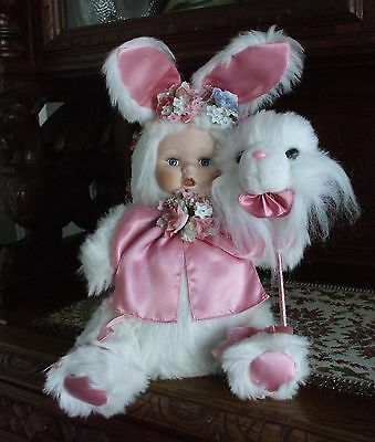 Vintage Porcelain China Doll in Plush White Bunny Rabbit Suit Millinery Flowers