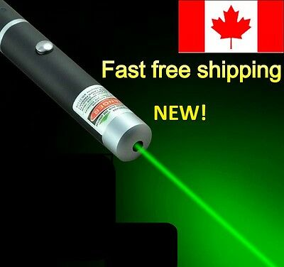 **REDUCED* 5mW GREEN Visible Beam Laser Pointer Pen AAA Battery CANADIAN