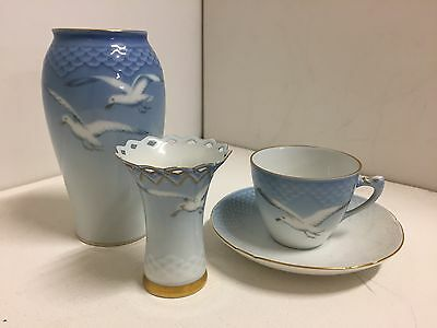 Bing and Grondahl SEAGULL Royal Copenhagen Vases, Demitasse cup and saucer