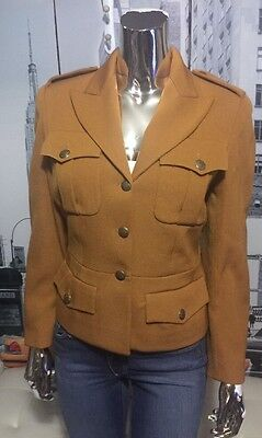 DKNY Gold 100% Pure Wool Military-Style Brass Buttons Sgt Pepper Jacket Sz 4
