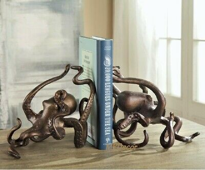 Octopus Bookends Bronze Iron Sculpture Desk Shelf Sitter Coastal Nautical