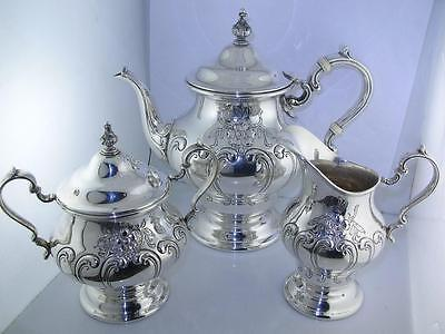 Sterling GORHAM 3pc Tea Set / Tea Creamer Sugar Bowl CHANTILLY COUNTESS ~no mono