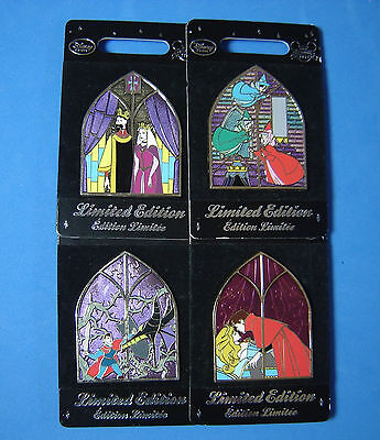 Sleeping Beauty Stained Glass 4 Pin Set UK Disney Store Pin LE 800 OC RARE