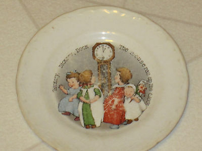 Vintage Hickory Dickory Dock Mouse Ran Up The Clock Childrens Plate
