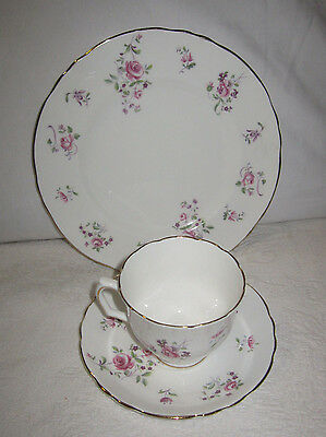 3 Pc Crown Staffordshire Tea Cup Saucer & Plate Bone China Pink Rose wGold Trim