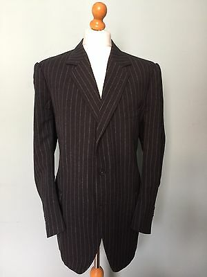 Vintage Bespoke 1960's Three 3 Piece Chalk Stripe Suit Size 44