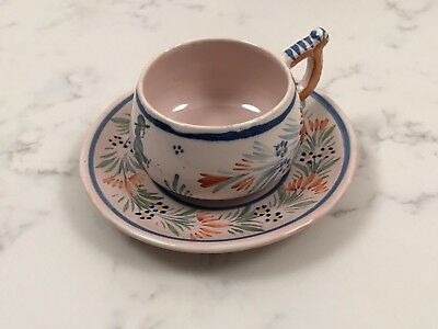 Henriot Quimper Rare 99. Tea Cup And Plate. Antique France. French 1922 - 1930