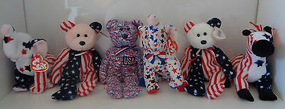 6 Ty Red White & Blue Beanie Babies -- Spangle, USA, Righty & Lefty