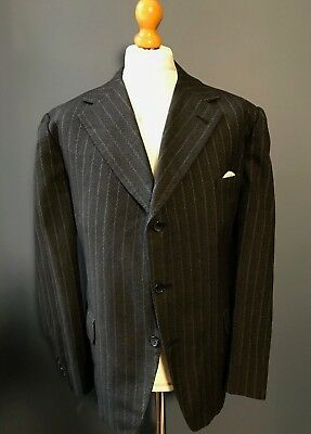 Vintage Bespoke Three 3 Piece Grey Striped Suit Size 44