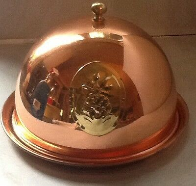 Solid Copper Domed Butter/Cheese Dish With Pineapple Front