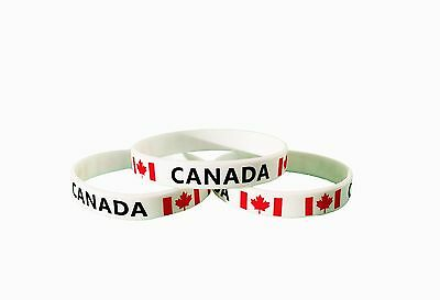 Set of 3 CANADA flag silicone rubber bands for young girls & young boys (Youth)