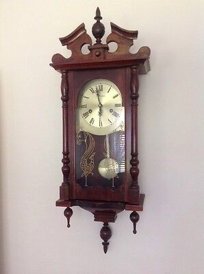 Vintage Dutch Style Maxims Wall Clock 31 Day Ting Tang Hour And Half Chime Key