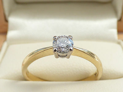 18ct Yellow gold 0.25ct diamond solitaire engagement ring Sz O