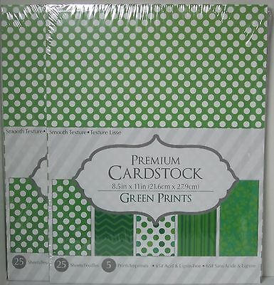"""Core'Dinations Cardstock Paper 8 1/2"""" X 11"""" 25 sheets GREEN PRINTS white Set 2"""