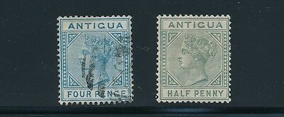 Antigua #10 & #12 QUEEN VICTORIA ISSUES (1879-1886) MH & USED; CV $23