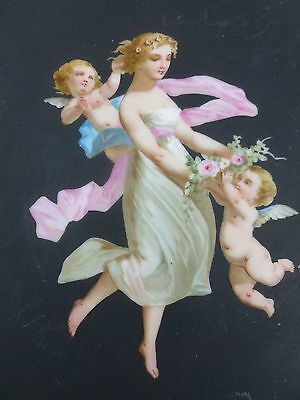 Divine 19Th C Neoclassical Allegorical Painted Plate In Bronze Mounts