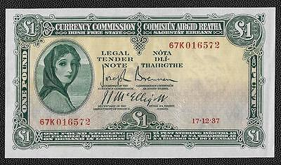 1937 Currency Commission Irish Free State  Lavery One Pound Banknote - Gef -Rare