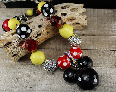 Girls Chunky Bead Mickey Mouse Inspired Pendant Necklace Photos Birthday