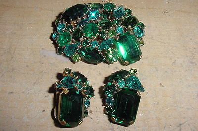 Gorgeous Dark Green Austria Pin And Earrings Stunning 1950S