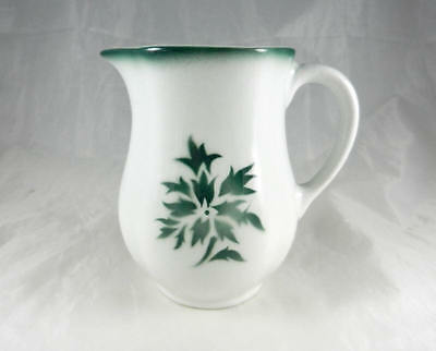 Fabulous Mid Century  Arabia Finland Hand Stenciled Green Aster . Cream Pitcher