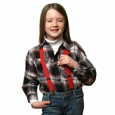 "Buyless Fashion Kids And Baby Adjustable Elastic Solid Color 1"" Suspenders - RED"