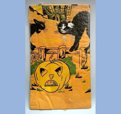 vintage UNUSED HALLOWEEN CREPE paper TABLECLOTH jol black cat spider web