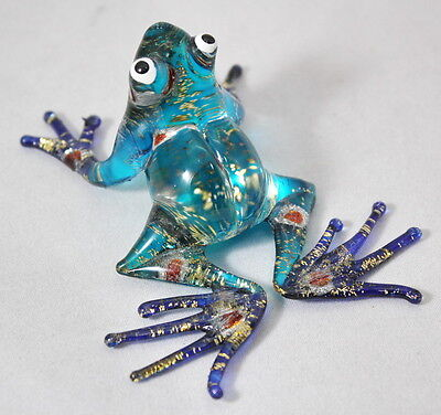 Blue Frog Figurine Animal Hand Blown Glass Colorful Amphibian Blue Foot Craft