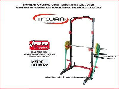 Half Power Rack Heavy Duty Chin Up + Spotters Oly Weight Plate Storage