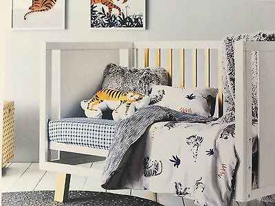 Adairs Kids Boys Nursery Cot Quilt Cover Set Tip Toe Tiger