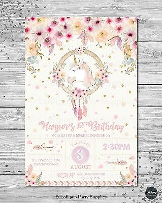 Unicorn Invitation Invite Birthday Party Tribal Rainbow Floral 1St First Any Age